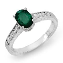 Genuine 1.63 ctw Emerald & Diamond Ring 14K White Gold - 13613-#36P3X
