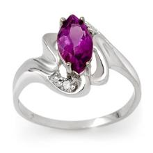 Genuine 2.62 ctw Amethyst & Diamond Ring 10K White Gold - 13511-#19G2R