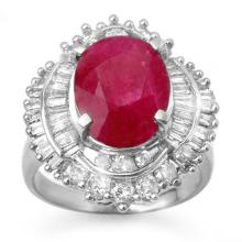 Natural 6.15 ctw Ruby & Diamond Ring 18K White Gold - 13130-#163W8K