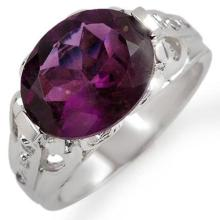 Genuine 4.30 ctw Amethyst & Diamond Ring 10K White Gold - 10707-#29P7X