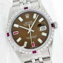 Rolex Ladies Stainless Steel, Diam/Ruby Dial & Diam/Ruby Bezel, Saph Crystal - REF#343T6V