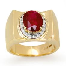 Genuine 3.33 ctw Ruby & Diamond Men's Ring 10K Yellow Gold - 13487-#53G5R