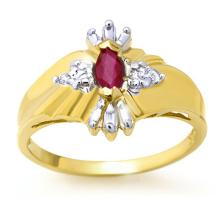 Natural 0.22 ctw Ruby & Diamond Ring 10K Yellow Gold - 12372-#14K2T
