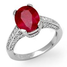 Natural 5.0 ctw Ruby & Diamond Ring 10K White Gold - 11884-#50N5F