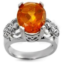 Genuine 6.20 ctw Citrine & Diamond Ring 10K White Gold - 10753-#42T3Z