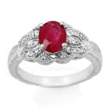 Genuine 2.10 ctw Ruby & Diamond Ring 14K White Gold - 14255-#42V2A