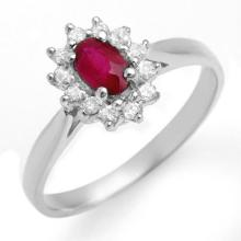 Natural 0.51 ctw Ruby & Diamond Ring 18K White Gold - 12620-#26R5H