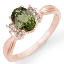 Genuine 1.06 ctw Green Tourmaline & Diamond Ring 14K Rose Gold - 13545-#27K5T