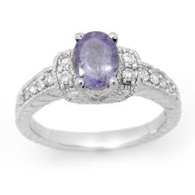 Natural 2.0 ctw Tanzanite & Diamond Ring 18K White Gold - 14250-#72M7G
