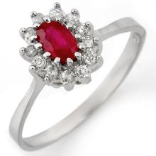 Genuine 0.60 ctw Ruby & Diamond Ring 14K White Gold - 11213-#24H8W