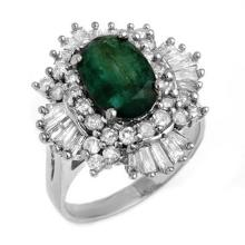Genuine 3.90 ctw Emerald & Diamond Ring 18K White Gold - 13285-#148T2Z