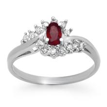 Natural 0.45 ctw Ruby & Diamond Ring 18K White Gold - 12416-#33X8Y