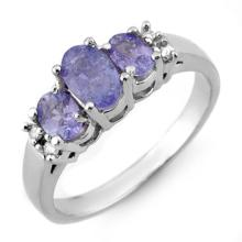 Genuine 0.99 ctw Tanzanite & Diamond Ring 18K White Gold - 10427-#40H3W