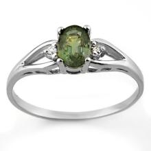 Genuine 0.77 ctw Green Tourmaline & Diamond Ring 10K White Gold - 11571-#15X2Y