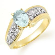Natural 1.20 ctw Aquamarine & Diamond Ring 10K Yellow Gold - 14520-#32R2H