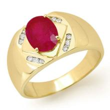 Genuine 3.30 ctw Ruby & Diamond Men's Ring 10K Yellow Gold - 13501-#46V5A