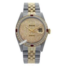 Rolex Ladies 2Tone 14K Gold/ Stainless Steel, Diam Pave Dial & Diam/Ruby Bezel, Saph Crystal - REF#414V5H