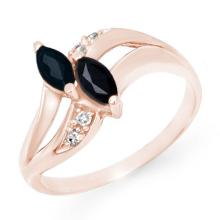 Genuine 0.74 ctw Blue Sapphire & Diamond Ring 10K Rose Gold - 12715-#16R7H