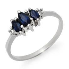 Natural 0.66 ctw Blue Sapphire & Diamond Ring 18K White Gold - 12926-#21X2Y