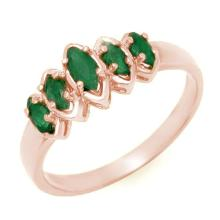 Natural 0.50 ctw Emerald Ring 14K Rose Gold - 13142-#19K7T
