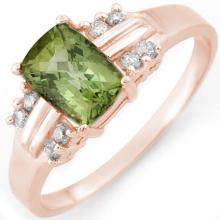 Genuine 1.41 ctw Green Tourmaline & Diamond Ring 18K Rose Gold - 10519-#37G2R