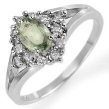 Natural 0.95 ctw Green Sapphire & Diamond Ring 10K White Gold - 10378-#29K3T