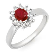 Genuine 0.70 ctw Ruby & Diamond Ring 14K White Gold - 14059-#24R2H