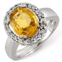 Natural 3.40 ctw Yellow Sapphire & Diamond Ring 10K White Gold - 10974-#56A2N