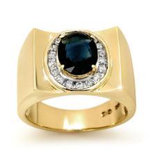 Natural 2.33 ctw Blue Sapphire & Diamond Men's Ring 10K Yellow Gold - 13488-#51Y8V