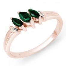 Genuine 0.29 ctw Emerald & Diamond Ring 18K Rose Gold - 13519-#28M8G