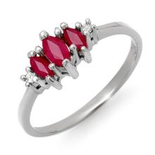 Genuine 0.54 ctw Ruby & Diamond Ring 14K White Gold - 12305-#16G2R