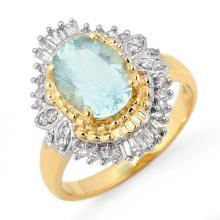 Genuine 2.48 ctw Aquamarine & Diamond Ring 14K Yellow Gold - 11123-#57H8W
