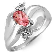 Natural 0.54 ctw Pink Tourmaline & Diamond Ring 10K White Gold - 11258-#18X8Y