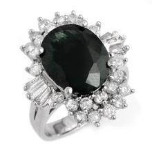 Genuine 9.51 ctw Blue Sapphire & Diamond Ring 18K White Gold - 13253-#136Y2V
