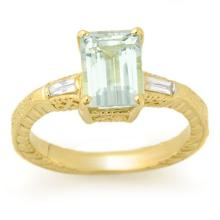 Natural 2.20 ctw Aquamarine & Diamond Ring 10K Yellow Gold - 11684-#43Y5V