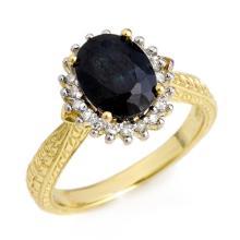 Natural 3.15 ctw Blue Sapphire & Diamond Ring 18K Yellow Gold - 12472-#50K5T