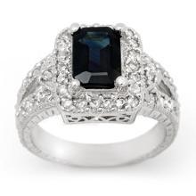 Natural 3.0 ctw Blue Sapphire & Diamond Ring 14K White Gold - 14388-#76Y7V