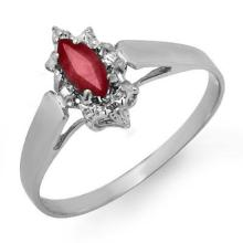 Natural 0.33 ctw Ruby Ring 18K White Gold - 12872-#15T8Z