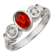 Natural 1.05 ctw Red Sapphire & Diamond Ring 18K White Gold - 11192-#52T2Z