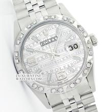 Rolex Ladies Stainless Steel, Arabic Dial Pyramid Diam Bezel, Saph Crystal - REF#305M5K