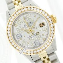 Rolex Ladies 2Tone 14K Gold/ Stainless Steel, Arabic Dial Diamond Bezel, Saph Crystal - REF#343R6X