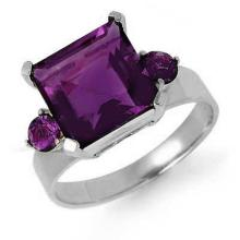 Genuine 4.31 ctw Amethyst Ring 14K White Gold - 12681-#32A8N
