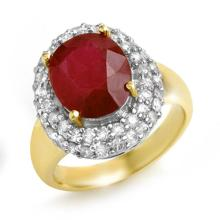Genuine 5.0 ctw Ruby & Diamond Ring 14K Yellow Gold - 14227-#85A2N