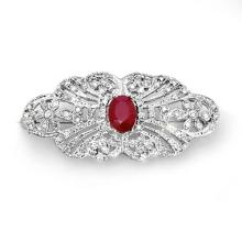 Natural 3.75 ctw Ruby & Diamond Brooch 14K White Gold - 14248-#118K7T