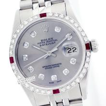 Rolex Ladies Stainless Steel, Diam Dial & Diam/Ruby Bezel, Saph Crystal - REF#316V4H