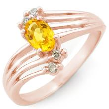 Genuine 0.80 ctw Yellow Sapphire & Diamond Ring 14K Rose Gold - 10547-#28V3A