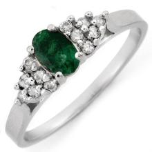 Genuine 0.50 ctw Emerald & Diamond Ring 10K White Gold - 10105-#15M3G