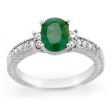Genuine 2.14 ctw Emerald & Diamond Ring 14K White Gold - 14169-#46T7Z