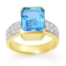 Natural 7.26 ctw Blue Topaz & Diamond Ring 14K Yellow Gold - 13856-#69T2Z