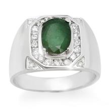 Natural 2.60 ctw Emerald & Diamond Men's Ring 14K White Gold - 14466-#83P7X